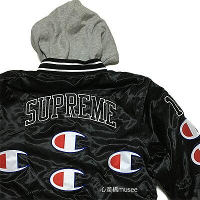 ≪新品≫ Supreme 18aw Champion Hooded Satin Varsity Jacket Black M size シュプリーム チャンピオン コラボ フーデッドサテンバーシティジャケット ブラック 黒 Mサイズ