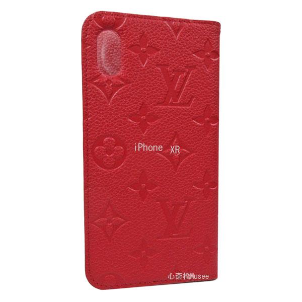 ≪新品≫ルイヴィトン フォリオ iPhone XR 10R 二つ折り スマホ 携帯ケース アンプラント スカーレット 赤 レッド M67493 アクセサリー モバイル 箱 リボン ラッピング LOUISVUITTON 手帳型 アイフォン ビトン エックスアール