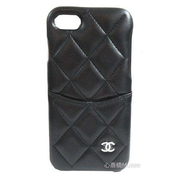 ≪新品≫CHANEL シャネル 19年クルーズ iphone7 8 携帯ケース A83563 黒×シルバー金具 マトラッセ スマホ アクセサリー モバイル 箱 リボン ラッピング