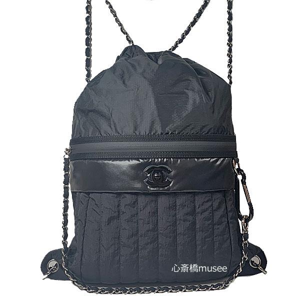 ≪新品≫CHANEL シャネル 19SS バックパック リュック ナップサック 黒 ブラック AS0430 箱 リボン ショッパー ラッピング