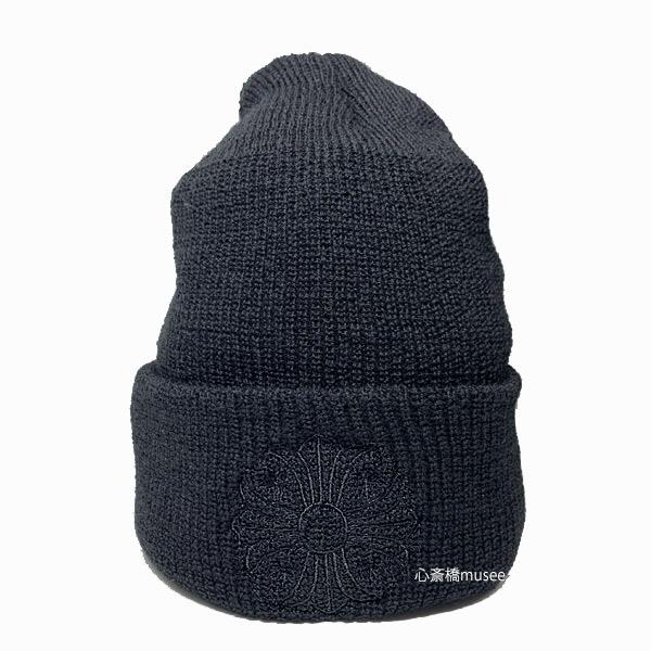 正規品 新品 クロムハーツ クロスボール ニット帽 黒 ブラック ブラック ステッチ ショッパー付