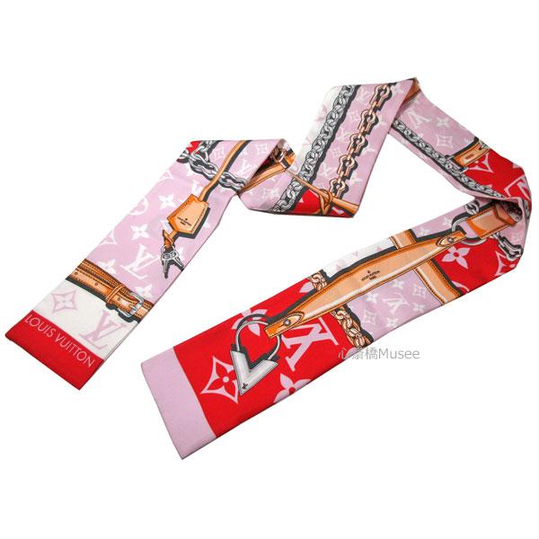 ≪新品≫ ルイヴィトン  バンドー コンフィデンシャル モノグラムジャイアント ルージュ 赤 ピンク M73358 LOUIS VUITTON スカーフ 箱 リボン ラッピング LV シルク ビトン