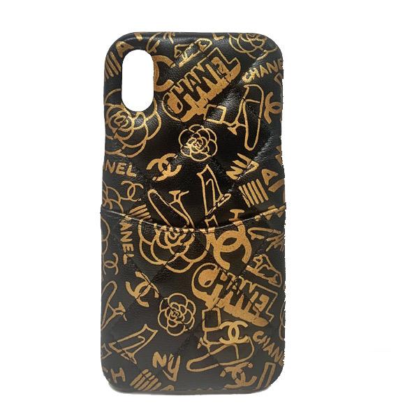 ≪新品≫ CHANEL シャネル 2019秋コレクション クラッシックケース 携帯ケース iphone10 X XS A83565 B00912 N0784 カーフスキン プリント 黒&ゴールド ゴールド金具 スマホケース マトラッセ アイフォーン 箱 リボン ラッピング