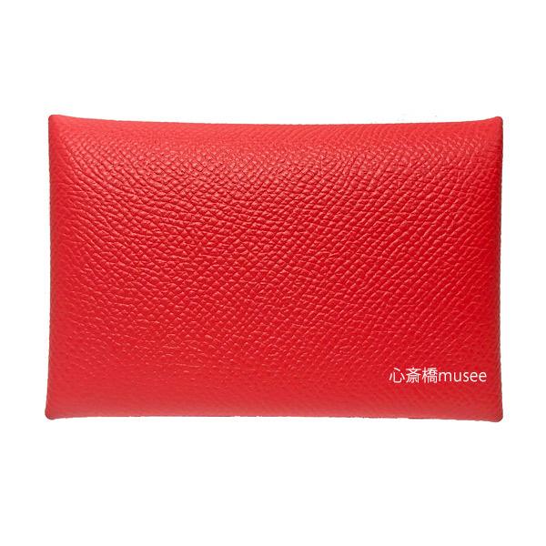 ≪新品≫エルメス カードケース カルヴィ ルージュ・ドゥ・クール 2019年新色 赤 エプソン HERMES calvi rouge de coeur  cade case red epson箱・リボンのラッピングエルメス
