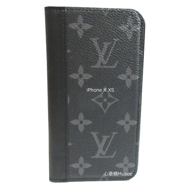 ≪新品≫ルイヴィトン フォリオ iPhone X XS 10 10s 二つ折り スマホ 携帯ケース エクリプス/ブラック レザー M68694 アクセサリー モバイル 箱 リボン ラッピング LOUISVUITTON アイフォン ビトン