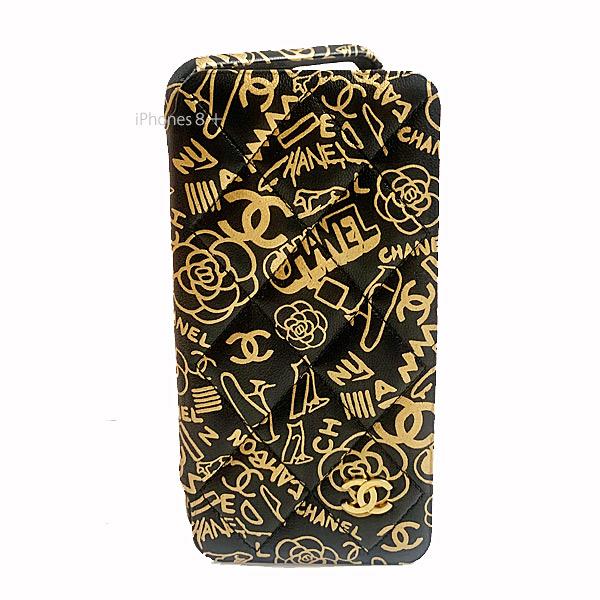 ≪新品≫ CHANEL シャネル 手帳型 iphone 7+ 8+  携帯ケース A83567 B00912 N0784 グラフティ ブラック×ゴールド ゴールド金具 二つ折り スマホケース マトラッセ 箱 リボン ラッピング  フラップ ケース グラフティ  国内未入荷