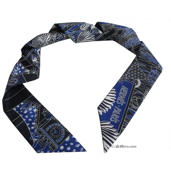 ≪新品≫ エルメス ツイリー「アニマポリス」ANIMAPOLIS マリン×ブルーロイ TWILL Marine/Bleu roy HERMES TWILLY シルク 箱 リボン ラッピング