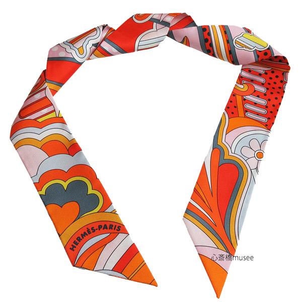 ≪新品≫エルメス ツイリー「フォーブル レインボー」Faubourg Rainbow オレンジ×ローズ×グリス TWILL Orange/Rose/Gris HERMES TWILLY