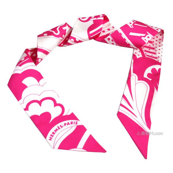 ≪新品≫エルメス ツイリー「フォーブル レインボー」Faubourg Rainbow ローズヴィフ×ブラン ピンク 白 ROSEVIF BLANC TWILL HERMES TWILLY