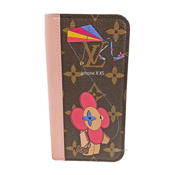 ≪新品≫ルイヴィトン【日本限定】フォリオ iPhone X XS 10 10s ヴィヴィエンヌ 凧あげ 二つ折り スマホ 携帯ケース モノグラム/ローズバレリーヌ ピンク レザー M69070 アクセサリー モバイル 箱 リボン ラッピング LOUISVUITTON アイフォン ビトン
