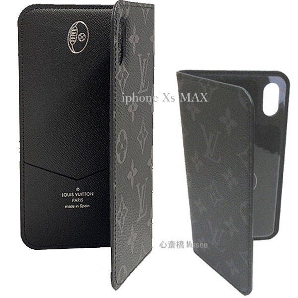 ≪新品≫ ルイヴィトン フォリオ iphoneXs MAX マックス ラグビーボール シルバースタンプ付き モノグラム エクリプス ブラック 二つ折り 携帯ケース モバイル M67484 LOUISVUITTON スマホ ケース 黒 シーズナル