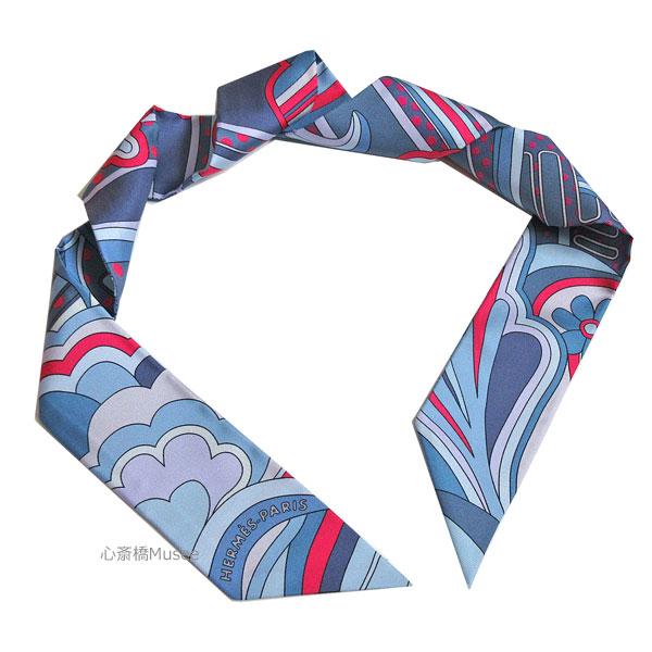 ≪新品≫エルメス ツイリー「フォーブル レインボー」Faubourg Rainbow ブルージーン ローズヴィフ RD/BLUEJEAN/ROSEVIF HERMES TWILLY