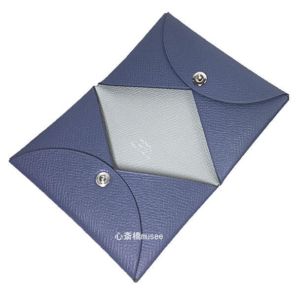 ≪新品≫ 箱リボンのラッピング エルメス カードケース 「カルヴィ」 ブルーブライトン×グリアスファルト バイカラー エプソン 名刺入れ