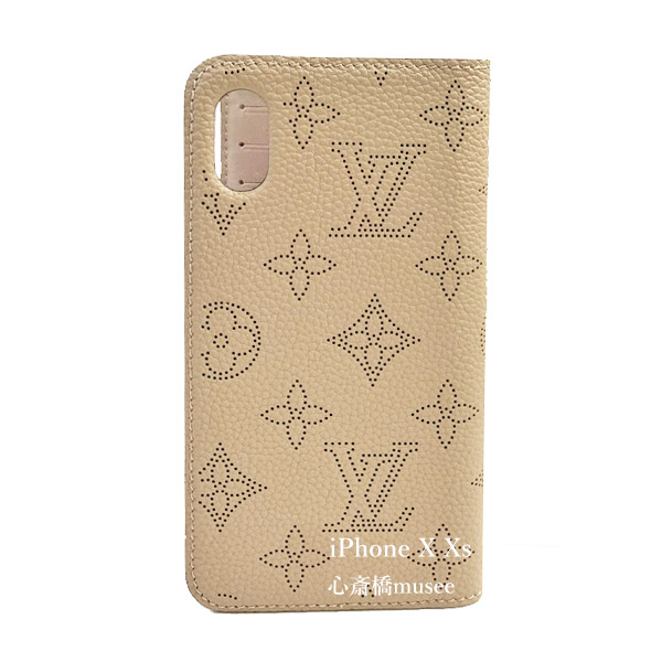 ≪新品≫ルイヴィトン【日本限定】フォリオ iPhone X XS 10 10s マヒナ 二つ折り スマホ 携帯ケース ガレ グレー ベージュ レザーM68885 アクセサリー モバイル 箱 リボン ショッパー付き ラッピング LOUISVUITTON アイフォン ビトン