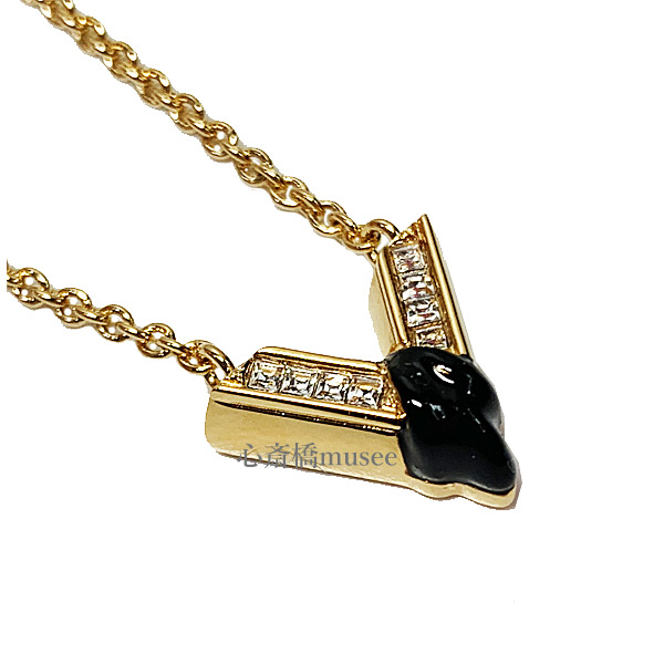 ≪新品≫ Vuitton ルイヴィトン ネックレス コリエ・ザ グレート エセンシャル M68911 ゴールド ブラック クリスタルシトラス LV ビトン V ルイヴィトン 箱 リボン ラッピング