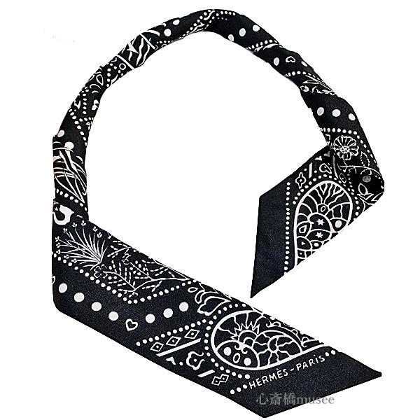 ≪新品≫エルメス ツイリー「空と海の間 バンダナ」 Entre Ciel et mer Bandana ノワール×ブラン ブラック 黒 ホワイト 白 TWILL noir/brun HERMES TWILLY 箱 リボン ラッピング