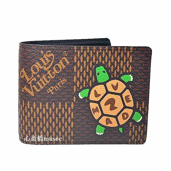 ≪新品≫ルイヴィトン NIGO LOUIS VUITTON NIGO コラボ ポルトフォイユミュルティプル 二つ折り財布 N60396 カメ ダミエエベヌ ジャイアント箱のラッピング 2020年限定 亀 ヴァージル アブローコラボ
