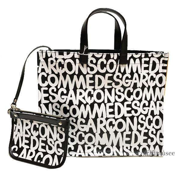≪新品≫COMME des GARCONS コムデギャルソン PVC ロゴ トート バッグ Artwork by baanai ビニールバッグ ブラック ホワイト 黒 ショッパー付