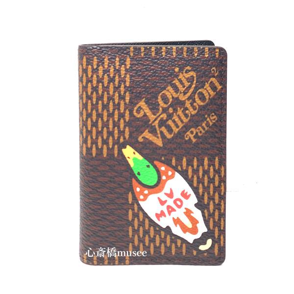 ≪新品≫ LOUIS VUITTON× NIGO ルイヴィトン× NIGO コラボ  オーガナイザー・ドゥ ポッシュ カードケース ダミエ・エベヌ ジャイアント カモN60391  箱 リボン ラッピング