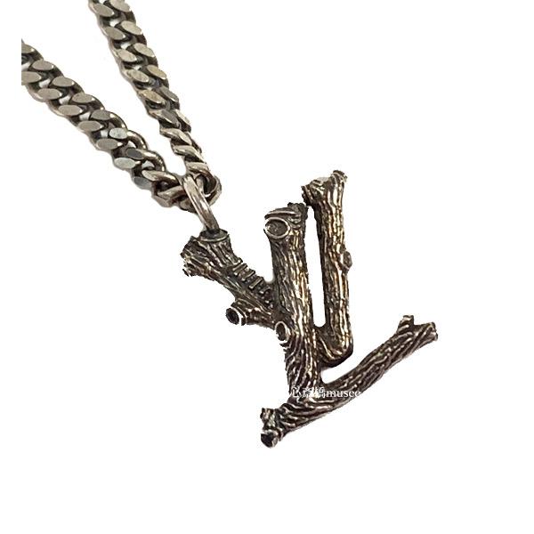 ≪新品≫Louis Vuitton ルイヴィトン ネックレス ペンダント LV wood ウッド ロゴ MP2818 ダーク シルバー LV ビトン ルイヴィトン 箱 リボン ラッピング