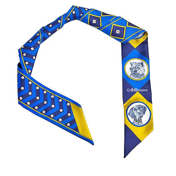 ≪新品≫エルメス ツイリー 「 colliers et chiens / 首輪と犬 」 BLUE ROY/GOLD/MARINE ブルーロイ/ゴールド/マリーヌ ミニ スカーフ 箱 リボン ラッピング ブルー