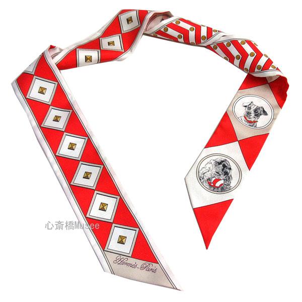 ≪新品≫エルメス ツイリー 「 colliers et chiens / 首輪と犬 」 ROUGE/BLANC/MASTIC ルージュ/ブラン/マスチック ミニ スカーフ 箱 リボン ラッピング 赤 白