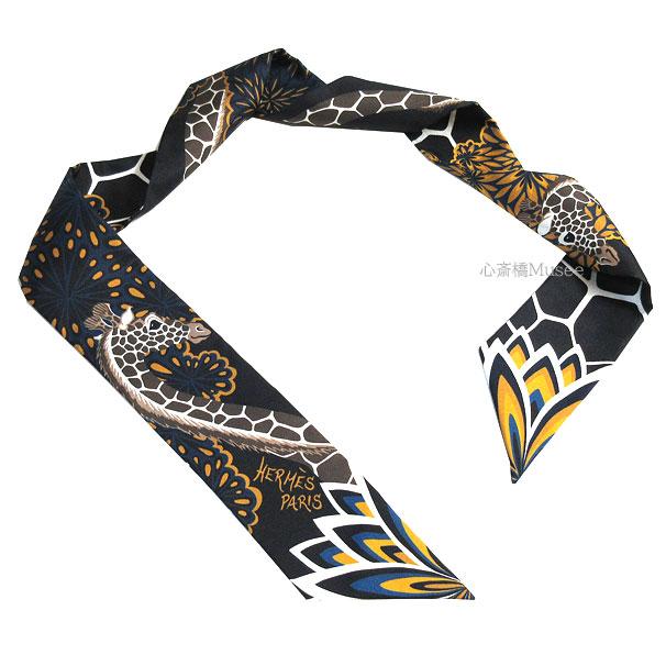 ≪新品≫エルメス ツイリー「THE THREE GRACES/三神美」NOIR/GOLD/TAUPE 黒 ブラック/ゴールド/トープ ミニ スカーフ ミニ スカーフ 箱 リボン ラッピング