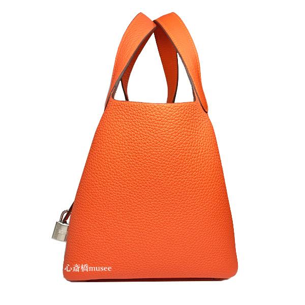 ≪新品≫エルメス ピコタン ロック 18 PM フー シルバー金具 トリヨンクレマンス オレンジ PICOTIN LOCK 18 Feu Taurillon Clemence Silver Orange