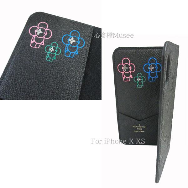 ≪新品≫ルイヴィトン フォリオ iPhone X XS 10 10s モノグラム アンプラント 二つ折り スマホ 携帯ケース ヴィヴィエンヌ スタンプ付 ノワール 黒 ブラック M63586 アクセサリー モバイル レザー 箱 リボン ショッパー ラッピング LOUISVUITTON アイフォン