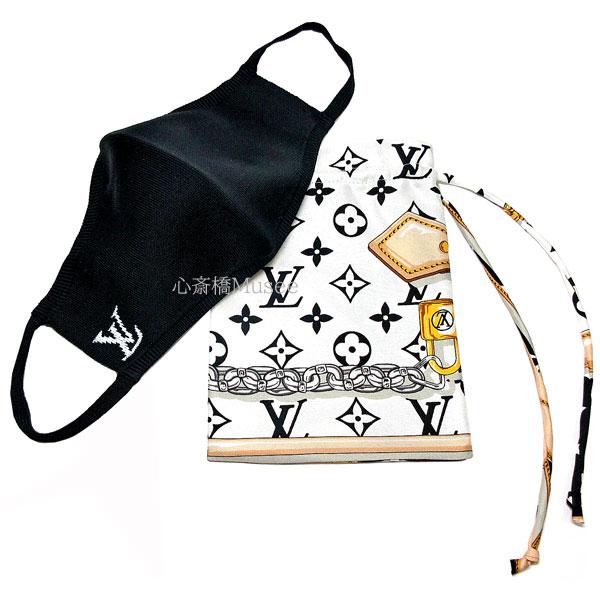 ≪新品≫ ルイ・ヴィトン マスク マイユ M76748 マスクカバー 黒  ブラック マスクケース付 ポーチ Louis Vuitton Masque Maille Marron