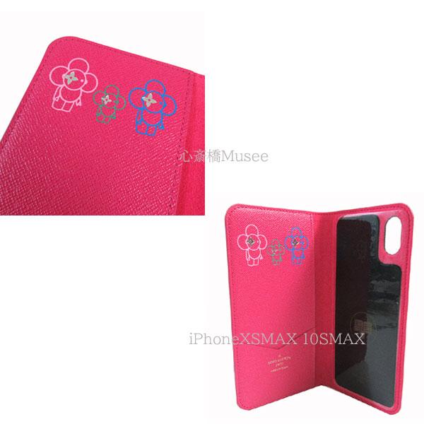 ≪新品≫ルイヴィトン モノグラム フォリオ iPhone XS MAX 10S MAX マックス ヴィヴィエンヌ マルチ スタンプ付 モノグラム ピンク M67481 二つ折り スマホ 携帯ケース ローズポップ アクセサリー ラッピング LOUIS VUITTON