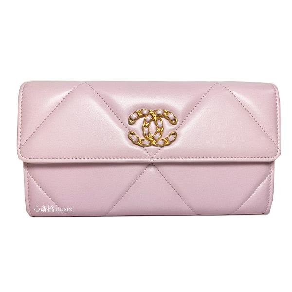 ≪新品≫シャネル 21SS 19 ナインティーン ロング フラップ ウォレット 長財布 薄ピンク ROSE CLAIR ゴールド金具 AP0955 B04852NC022 箱 リボン ラッピング PINK
