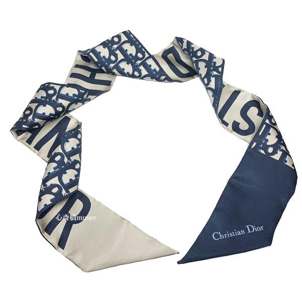 ≪新品≫ Dior ディオール ミッツァ スカーフ ディオール オブリーク シルクツイル ツイリー ブルー ロゴ DIOR