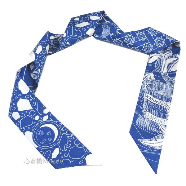 ≪新品≫ エルメス ツイリー 「LA DANCSE DES AMAZONES  / アマゾンのダンス」Bleu Moyen/Blanc ブルーモワイヤン/ブラン ブルー ホワイト 白 ミニ スカーフ 箱 リボン ラッピング