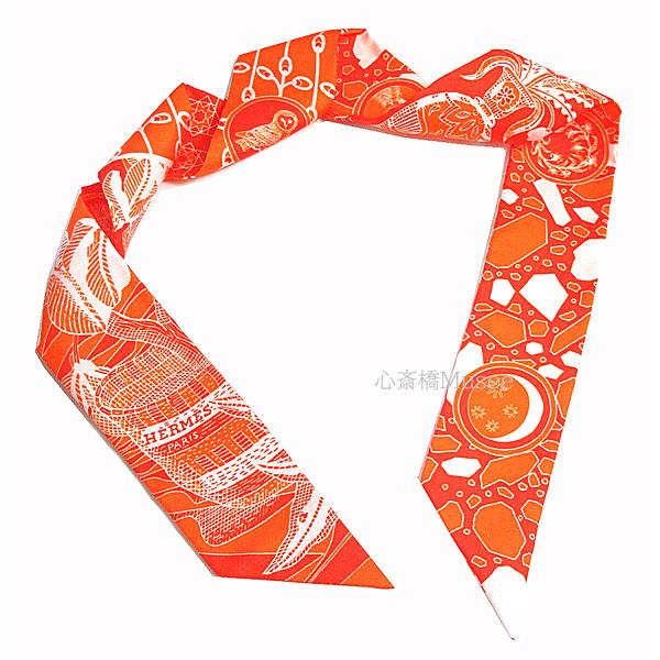 ≪新品≫ エルメス ツイリー 「LA DANCSE DES AMAZONES / アマゾンのダンス」ORANGE/CORAL/BLAN オレンジ/コーラル/ブラン ホワイト 白 ミニ スカーフ 箱 リボン ラッピング