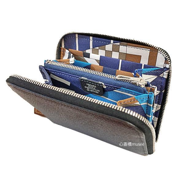"""≪新品≫エルメス アザップ シルクイン コンパクト ラウンドファスナー ミニ財布 黒 ブラック ワン・ツー・スリー エプソン シルク シルバー金具 HERMES Wallet Azap Silkin Compact Black """"One Two Three"""" blue Navy - beige weimar 箱 ラッピング"""
