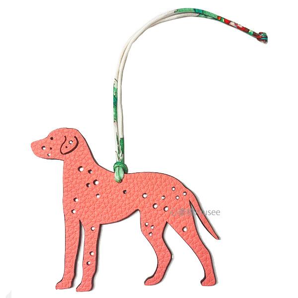 ≪ 新品 ≫ エルメス プティアッシュ チャーム ダルメシアン 犬 フラミンゴ / エトゥープ  リボン ラッピング Hermes Petit H charm DALMATIAN Flamingo / Etope