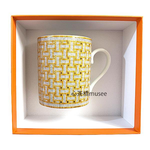 ≪新品≫HERMES エルメス マグカップ モザイク ヴァンキャトル 300ml  オレンジ / ゴールド  HERMES Mosaique au 24 Orange / Gold レア 箱 リボン ラッピング 食器 プレゼントに  新品 プレゼント ラッピング
