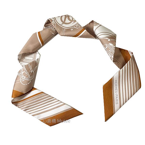 ≪新品≫ エルメス ツイリー エクスリブリス ベージュ / ブラン / キャラメルTWILL Beige / Blanc / Caramel HERMES TWILLY EX-LIBRIS シルク スカーフ 箱 リボン ラッピング