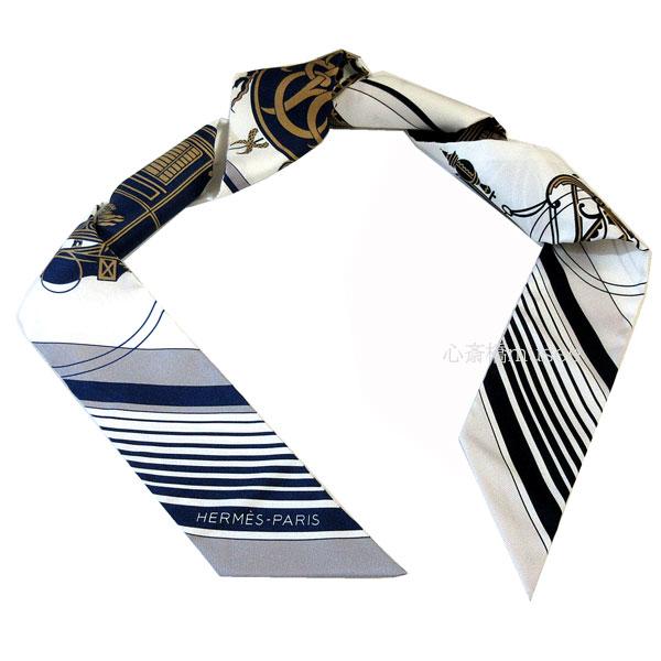 ≪新品≫ エルメス ツイリー エクスリブリス マリーヌ/ ブラン / グリス TWILL BLANC / MARINE / GRIS HERMES TWILLY EX-LIBRIS シルク スカーフ 箱 リボン ラッピング