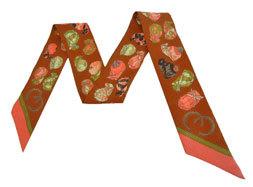 ≪新品≫ エルメス ツイリー ジョッキー 《JOCKEY》 キャラメル/コーラル スカーフ 箱・リボンのラッピング