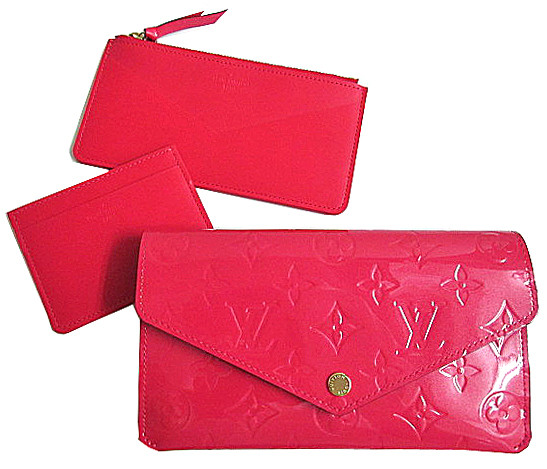 新品 ルイヴィトン ヴェルニポルトフォイユ ジャンヌ Jeanne ウォレット ホック付 長財布 コインケース カードケース ホットピンク M61689 LV箱・紙袋付