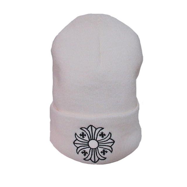 正規品新品2016AWクロムハーツクロスボールニット帽白ホワイトショッパー付