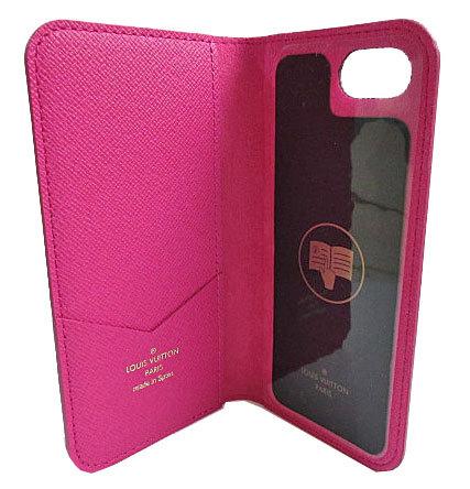 ≪送料無料≫ルイヴィトン「iphone7・フォリオ」モノグラム×ピンク二つ折り携帯ケースアクセサリーモバイルM61628プレゼントラッピング