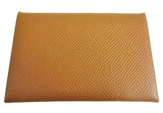 ≪新品≫箱リボンのラッピングエルメスカードケース「カルヴィ」ゴールドエプソン名刺入れ