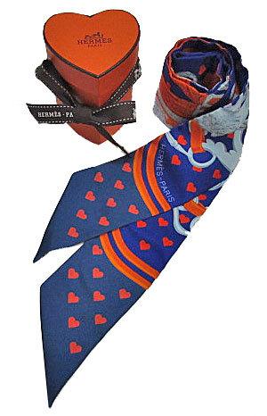 ≪新品≫ハート箱リボンのラッピングエルメス2017年限定ツイリー《ブリッド・ドゥ・ガラ・ラヴ》ハート柄パープル×ネイビー×オレンジ系