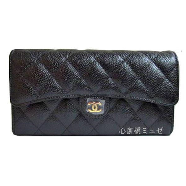 《新品》CHANELシャネルマトラッセフラップ長財布キャビア黒ゴールド金具A80758箱・リボン・カメリアのラッピング