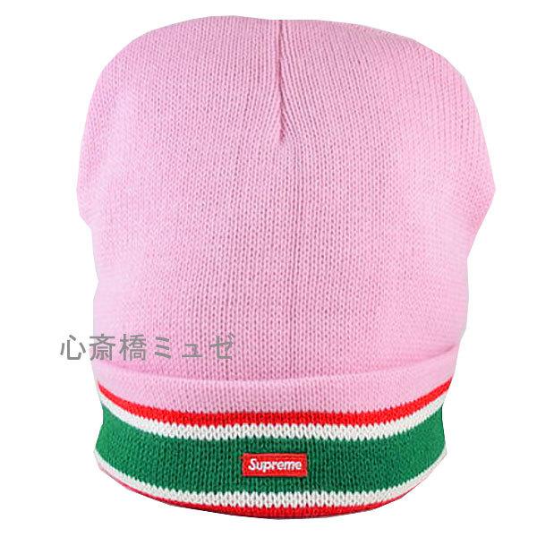 ≪新品≫16AWSUPREMEStripedCuffBeaniePINKシュプリームピンクニット帽
