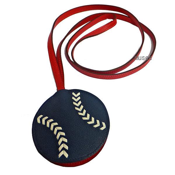 ≪新品≫エルメスキーリングロングストラップクロシェットチャームbaseballベースボール野球メンズ箱リボンラッピング