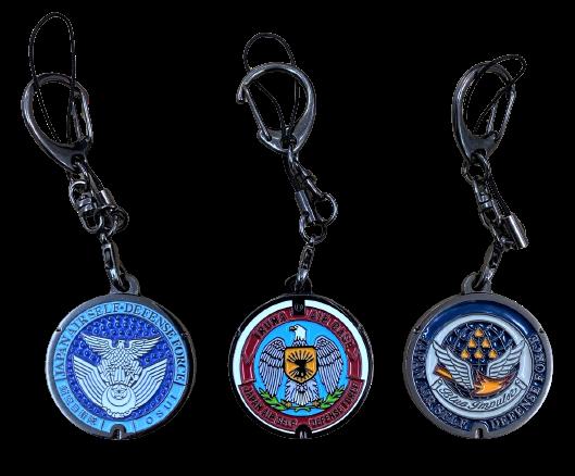自衛隊グッズ ご当地マンホールストラップ 航空自衛隊徽章/入間基地/松島基地の3種